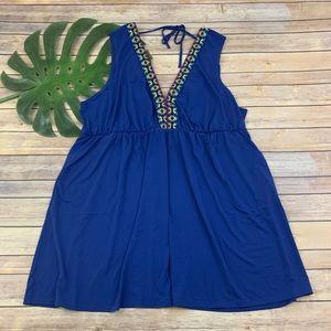 Cacique blue embroidered trim cover up swim dress